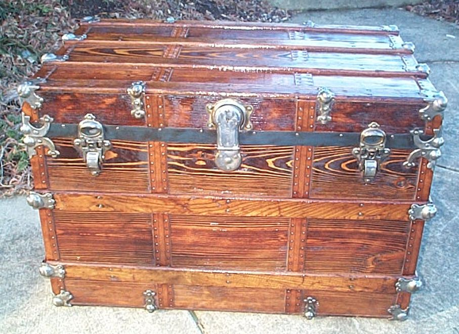 restored antique flat top trunk for sale 474