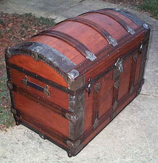 restored antique dome top trunk 476