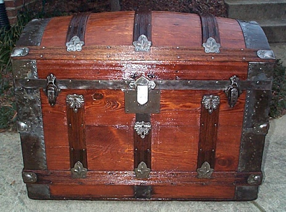 restored antique dome top trunk for sale 476