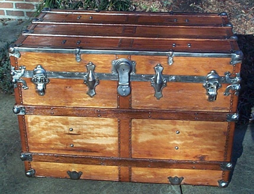 restored antique flat top trunk for sale 477