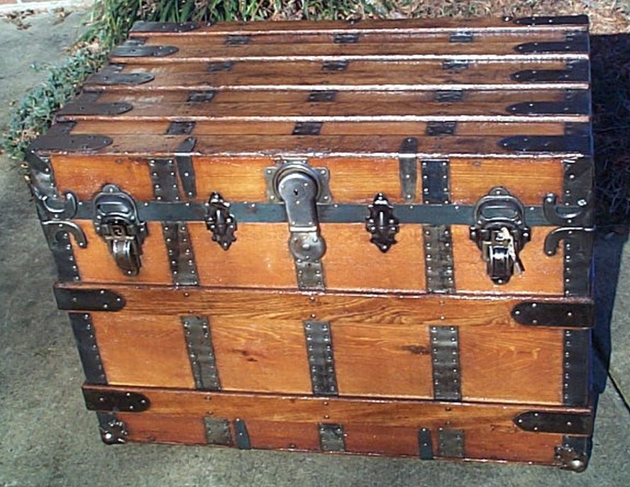 restored antique flat top trunk for sale 478