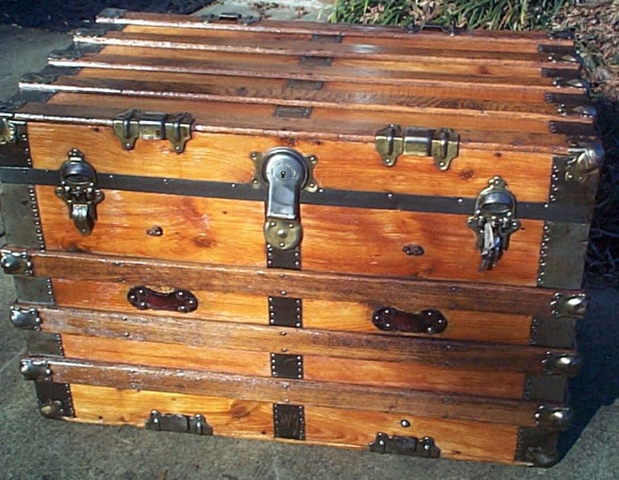 restored antique flat top trunk for sale 479