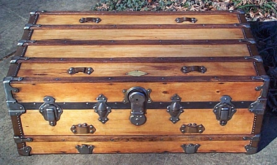 restored antique low profile flat top trunk for sale 480