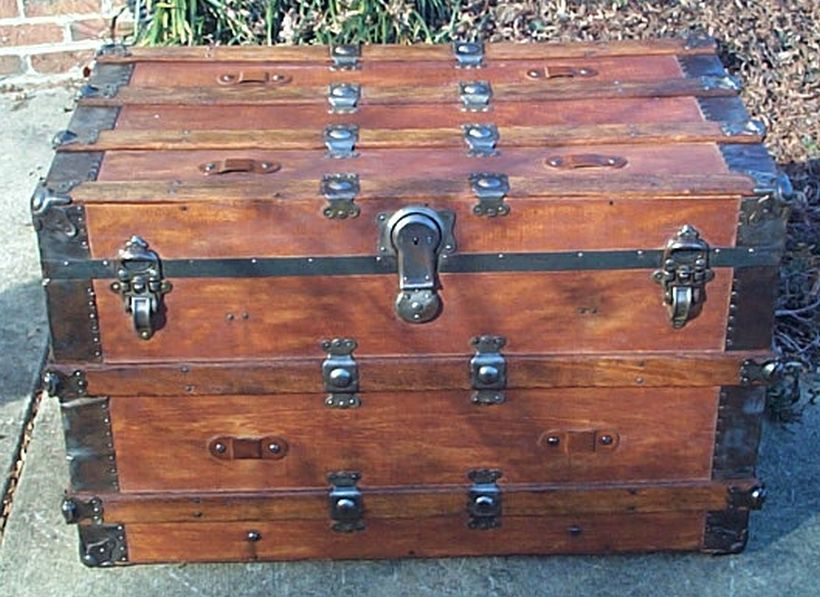 restored antique flat top trunk for sale 481