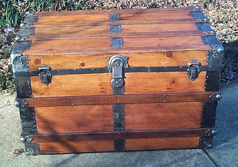 restored antique flat top trunk for sale 482