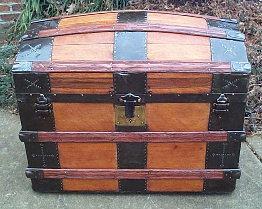 restored antique dome top trunk for sale 483