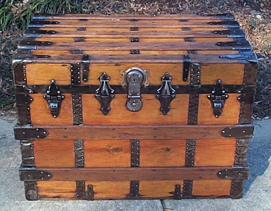 restored antique flat top trunk for sale 485