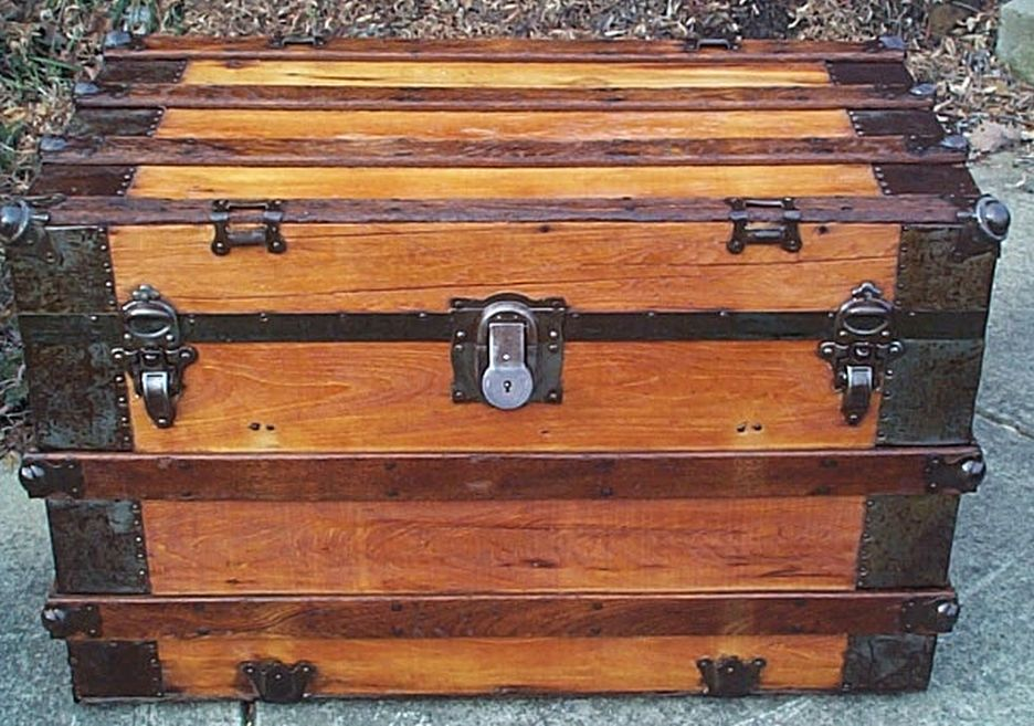 restored antique flat top trunk for sale 486