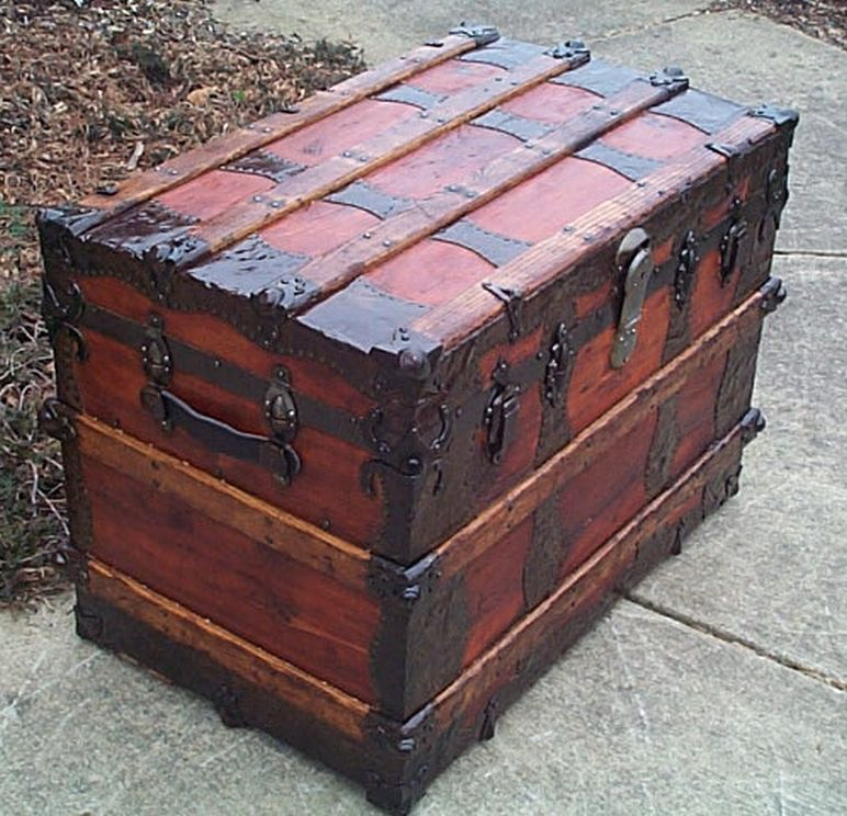 restored antique roll top trunk 488
