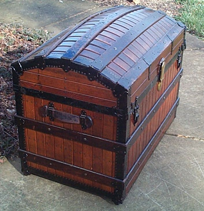 restored antique dome top trunk w handcrafted oak slat body for sale 489