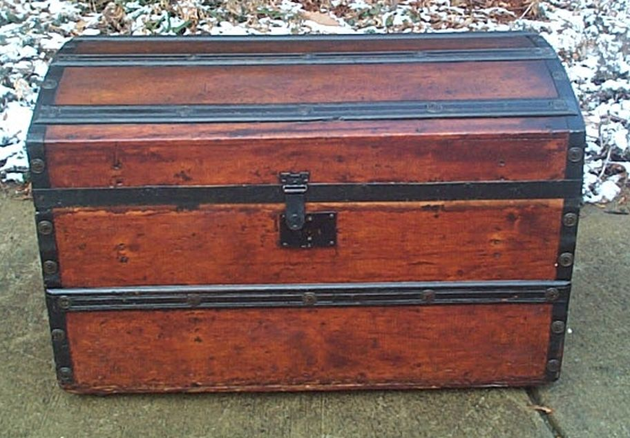 restored civil war era antique dome top trunk w handcrafted oak handles and working lock and key 490