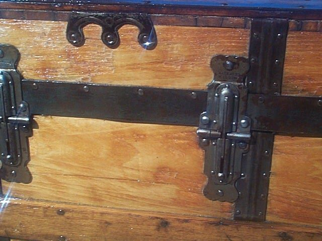 restored antique flat top trunk 496
