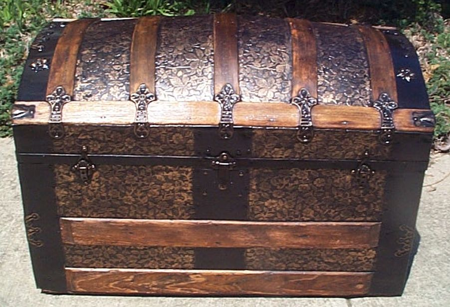restored humpback dome top victorian era antique trunk 506