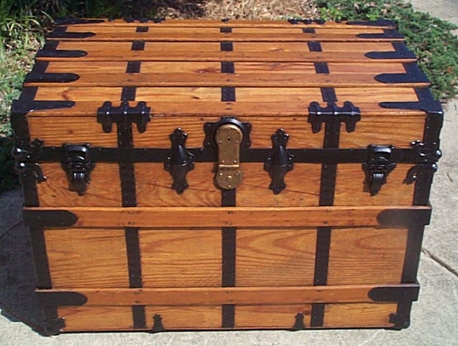 restored flat top victorian era antique trunk 507