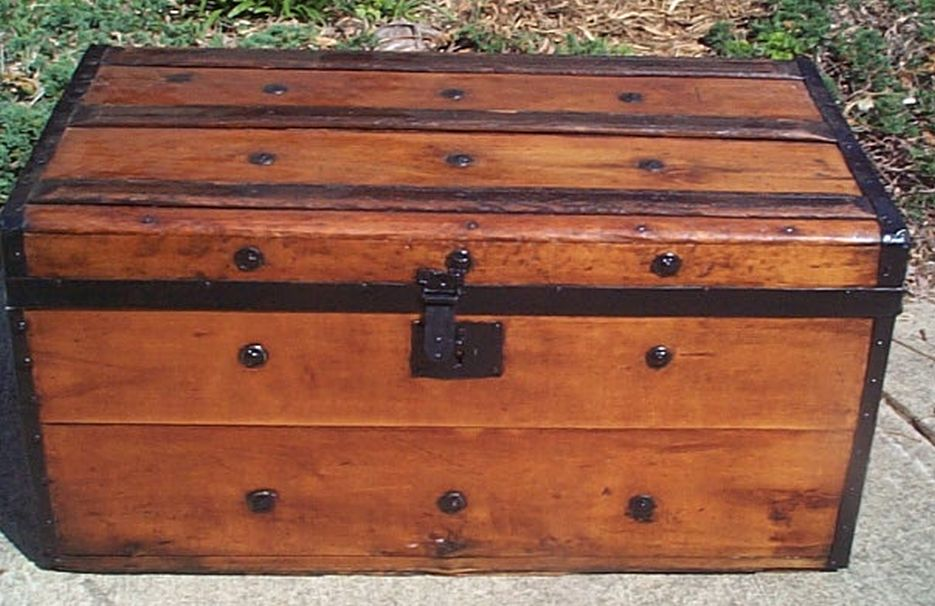 restored flat top civil war era antique trunk 509