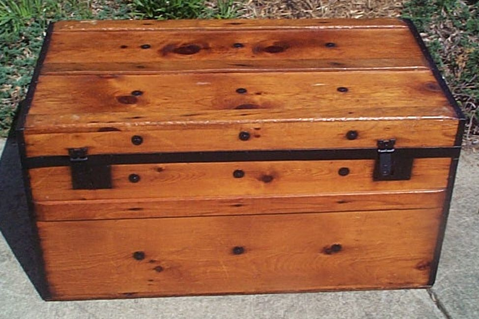 restored flat top civil war era antique trunk 510