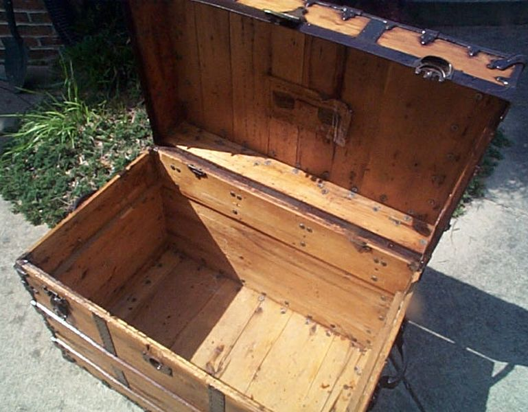 restored flat top antique trunk for sale #511