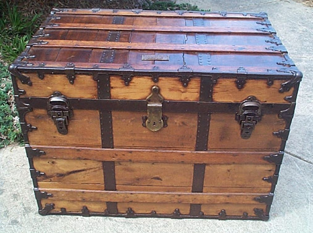 restored flat top victorian era antique trunk 511