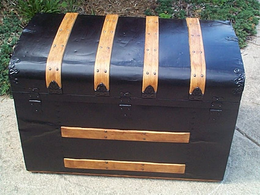 restored flat top antique waterfall style trunk for sale #513
