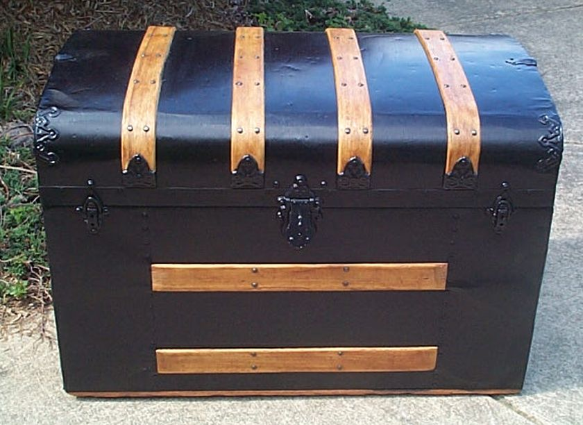 restored flat top victorian era antique trunk 513