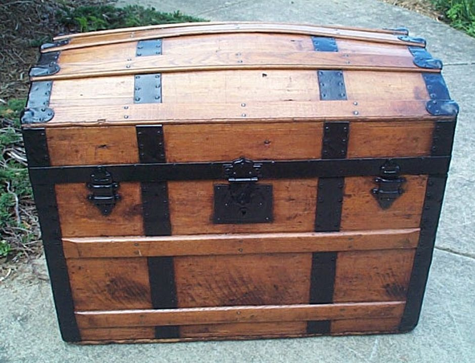 restored dome top victorian era antique trunk 514