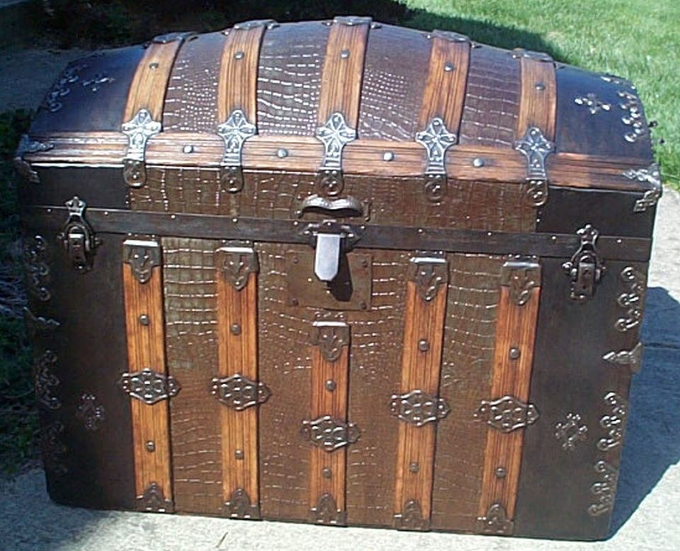 restored dome top victorian era antique trunk 515