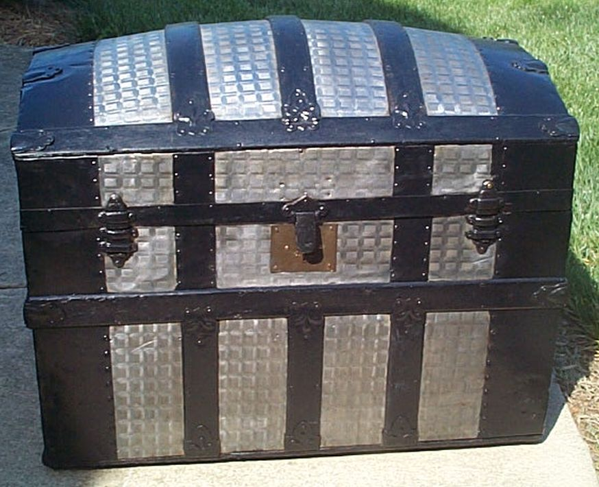 restored dome top victorian era antique trunk 516