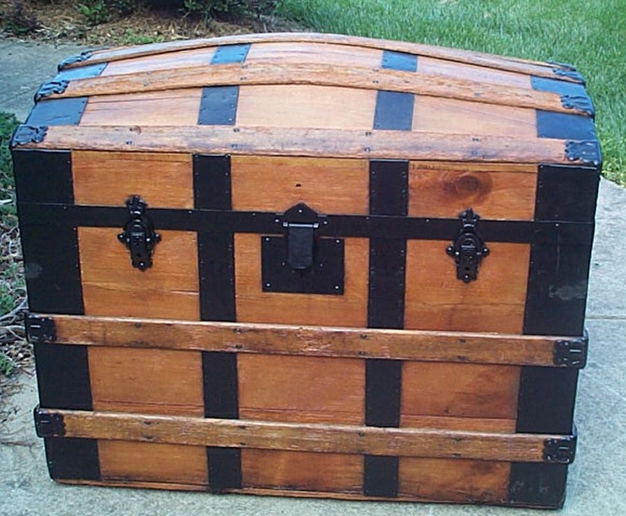restored dome top victorian era antique trunk 517
