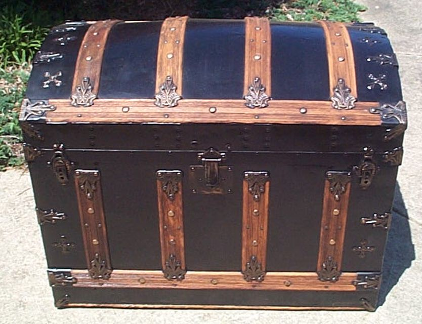restored dome top victorian era antique trunk 518