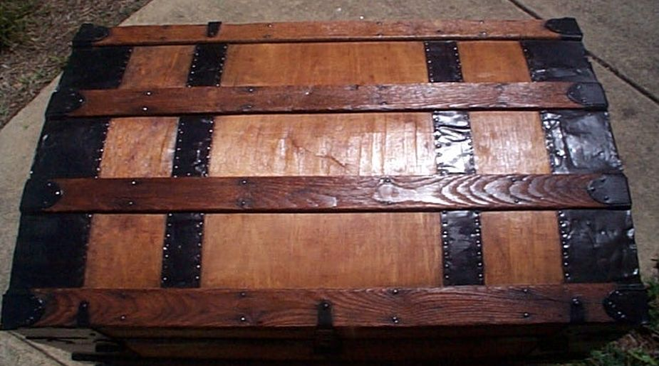 restored antique roll top trunk for sale #519