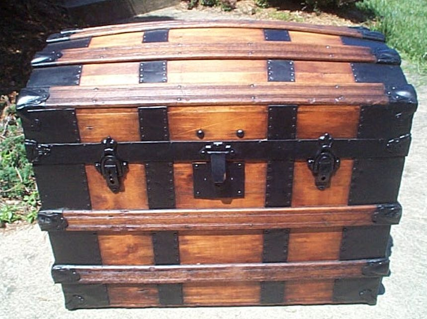 restored dome top victorian era antique trunk 519