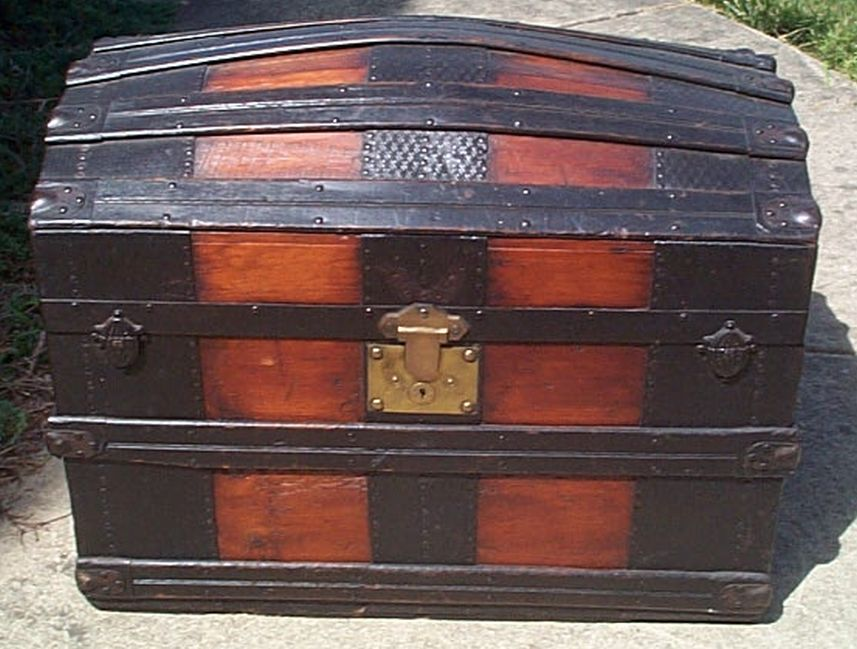 restored dome top victorian era antique trunk 522