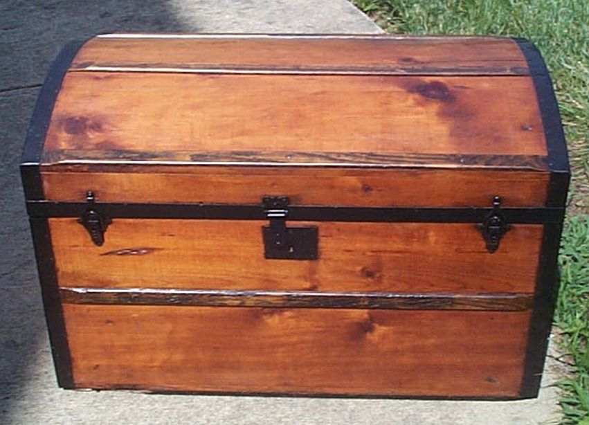 restored dome top victorian era antique trunk 524