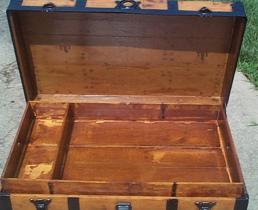 restored antique low profile flat top trunk for sale #526