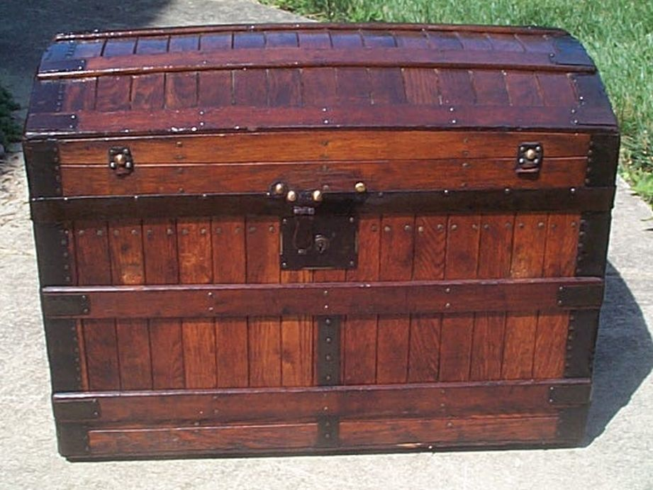 restored excelsior oak slat roll top victorian era antique trunk 528