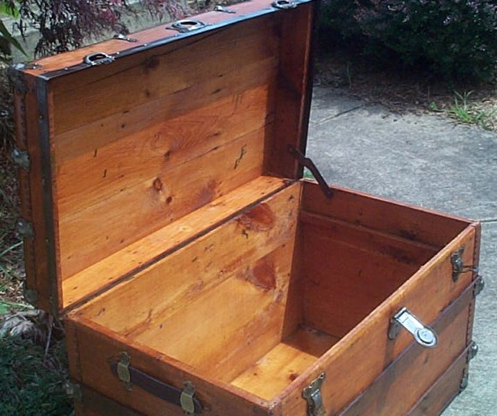 restored antique flat top trunk for sale #529