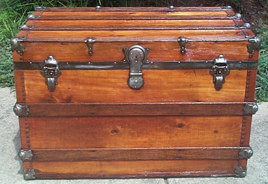 restored flat top victorian era antique trunk 529