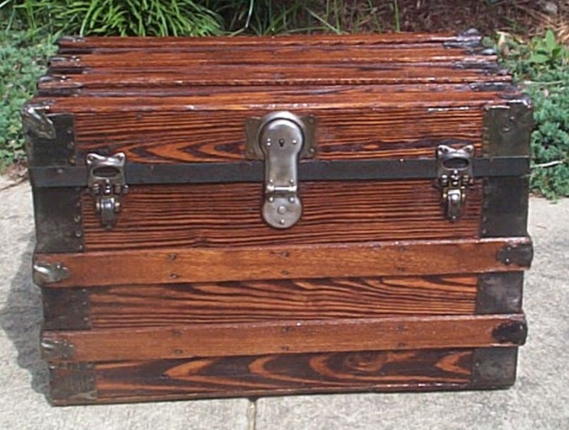 restored flat top victorian era antique trunk 530