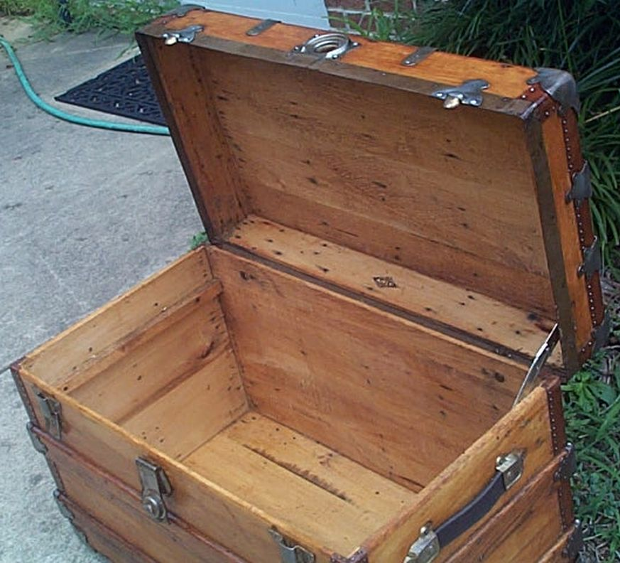 restored antique flat top trunk for sale #531