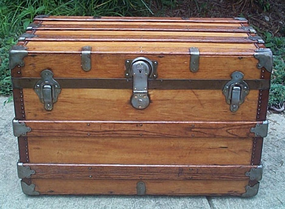 restored flat top victorian era antique trunk 531