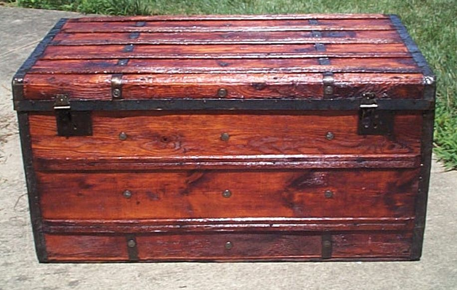 restored flat top victorian era antique trunk 532