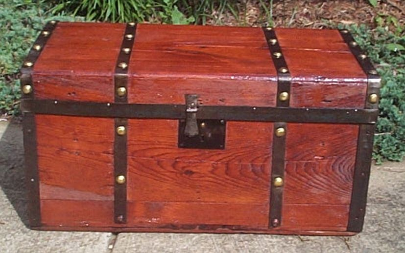 restored flat top victorian civil war era antique trunk 533