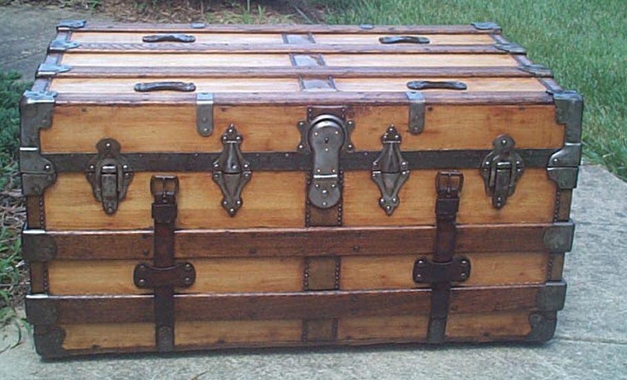 restored flat top victorian era antique low profile trunk 534