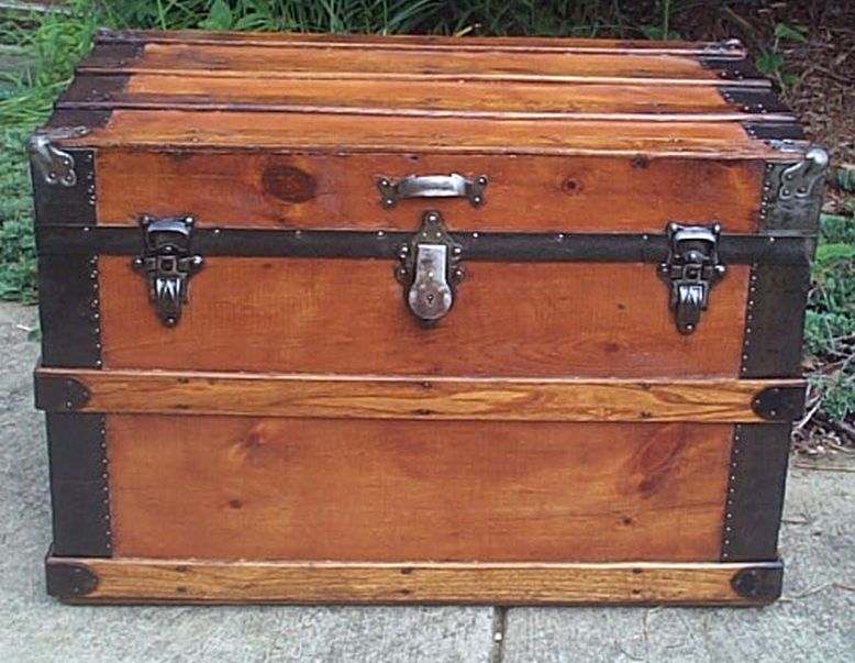 restored flat top victorian era antique low profile trunk 535