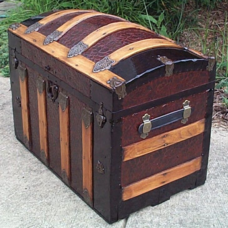 restored antique metal dome top trunk for sale #536