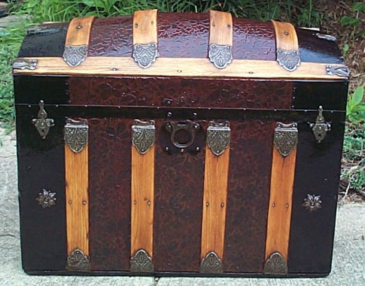 restored dome top victorian era antique trunk 536