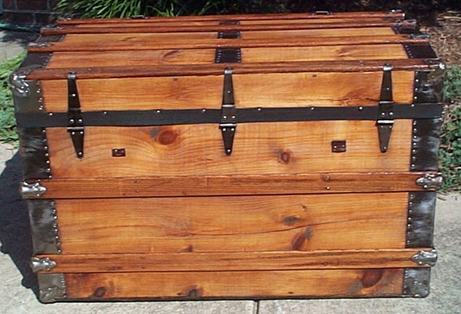 restored antique roll top trunk for sale #537