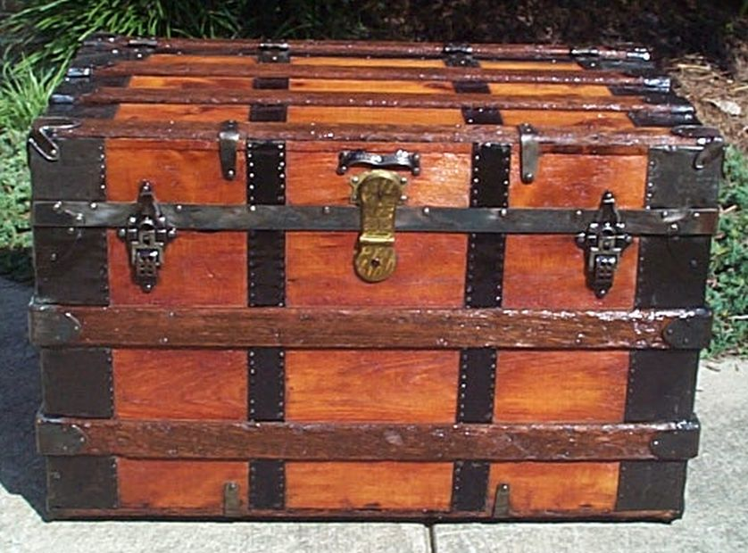 restored flat top wall waver victorian era antique trunk 538