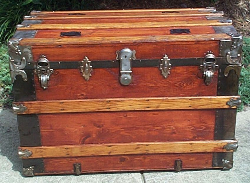 restored flat top victorian era antique trunk 539