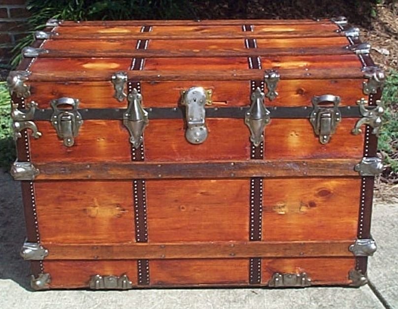 restored flat top victorian era antique trunk 540